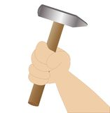 Hand holds a hammer on a white background. Vector illustration Royalty Free Stock Photography