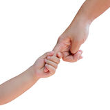Hand holds hand. Parental hand holds hand the baby Royalty Free Stock Photography