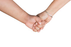 Hand holds the hand of his mother's son Royalty Free Stock Photo