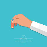 The hand holds. An eraser. A hand with an office subject in 3D style on the  blue background. Vector illustration. Design element Stock Image