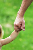 Hand holds the hand a parent child. Hand holds the hand of a parent child Royalty Free Stock Photo