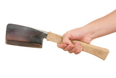 Hand holds hatchet. On white background Stock Images