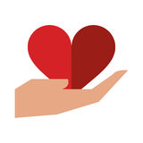 Hand holds heart love sing. Vector illustration eps 10 Stock Photography
