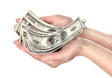 Hand holds hundreds of dollars Royalty Free Stock Photography