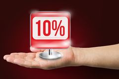 Hand holds a 10% icon Royalty Free Stock Photo