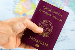 Hand holds an Italian Passport Royalty Free Stock Photography