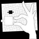 Hand Holds Jigsaw Puzzle Last Piece. A woman holds in her hand the final piece of a jigsaw puzzle solution vector illustration