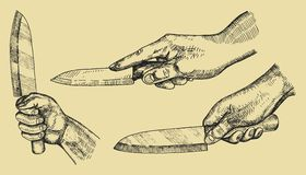 The hand holds a kitchen knife sketch. vector illustration Royalty Free Stock Images
