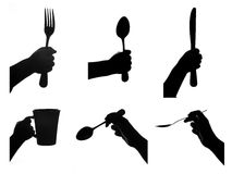 Hand holds kitchen tool. Hands are holding kitchen tools. food concept. each one is shot separately Royalty Free Stock Image