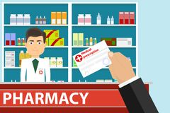The hand holds a medical prescription. The hand gives a medical prescription to the pharmacist. Flat design,  illustration Royalty Free Stock Image