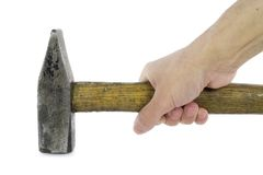The hand holds an old rusty hammer Royalty Free Stock Photo