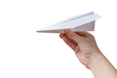 Hand holds origami paper airplane. Isolated on white background Royalty Free Stock Photo