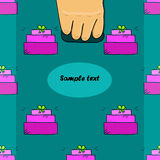 Hand holds a package with seamless pattern Stock Images