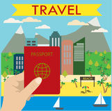 Hand holds a passport in the background beach city Royalty Free Stock Photo