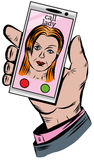 The hand holds the phone with an incoming call from the girl Royalty Free Stock Images