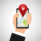 Hand holds phone navigation app market Stock Photo