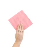 Hand holds pink cleaning sponge. Stock Photo