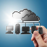 Hand holds pixel cloud network icon sign Royalty Free Stock Photography