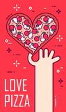 Hand holds a pizza in the shape of heart on red background. Vector banner for fast food. Thin line flat design.  Stock Images