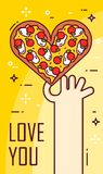Hand holds a pizza in the shape of heart. Vector banner for fast food. Thin line flat design.  Royalty Free Stock Image
