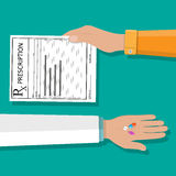 Hand holds prescription rx form and pills Royalty Free Stock Photos