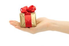 Hand holds present box Stock Photos