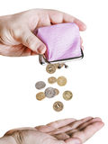 Hand holds the purse Stock Image