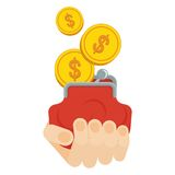 Hand holds purse with money Stock Image
