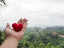 The hand holds the red heart the background is forest green trees and misty mountains landscape.  copy space for text. The concept of love, Valentines day Royalty Free Stock Image