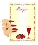 Hand holds sheet to record the recipe wine. Beautiful illustration for recording your favorite wine recipes and drinks. Beautiful female Hand holds sheet to Stock Photos