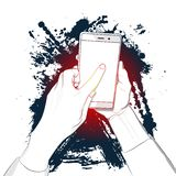 Hand holds smart phone with white screen and a finger touches the display. stock illustration
