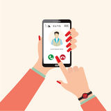 Hand holds smartphone Incoming call from man. Hand holds smartphone Incoming call from man, Calling service, finger touch screen. Modern concept for web banners Stock Image