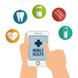 Hand holds smartphone mobile health icons Royalty Free Stock Image
