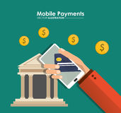 Hand holds smartphone mobile payment bank app Stock Photos