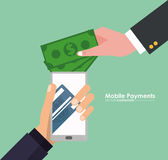 Hand holds smartphone mobile payment money virtual Stock Images