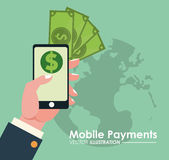 Hand holds smartphone online mobile payments globe Stock Photography