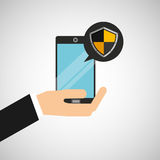 Hand holds smartphone padlock protection shield icon Stock Photo