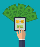 Hand holds smartphone pay euro dollar money Royalty Free Stock Image