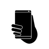 Hand holds smartphone sms chat technology pictogram Royalty Free Stock Image