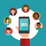 Hand holds smartphone social media communication Stock Photos