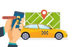 Hand holds smartphone. Taxi ordering service, calling. Order, mobile application. Hand holds smartphone. Taxi ordering service and calling. Online taxi order Royalty Free Stock Photos