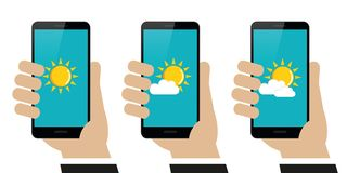 Hand holds smartphone with weather report on display set. Isolated on white background vector illustration EPS10 royalty free illustration