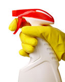 Hand holds sprayer with chemical cleaner Royalty Free Stock Photography