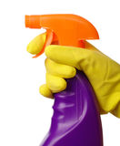 Hand holds sprayer with chemical cleaner Stock Photos