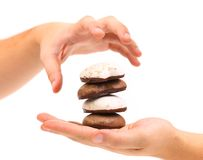 Hand holds stack of chocolate meringues. Royalty Free Stock Images