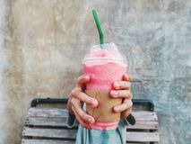 Stirberry smoothie drink royalty free stock images