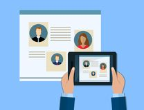Hand holds a tablet. Concepts for Searching people, employees, candidates, team members. Flat design illustration. Hand holds a tablet. Concepts for Searching Stock Photos
