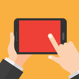 Hand holds tablet. Digital Device. Information Technology Design concept. Royalty Free Stock Photo