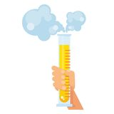 Hand holds test tube with reagent Stock Photo