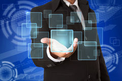 hand holds Touch screen  buttons Stock Photos